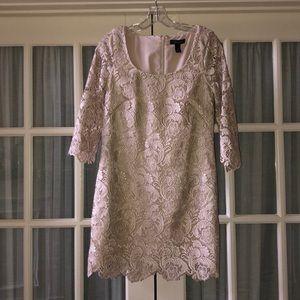 White House Black Market Cream Lace Dress